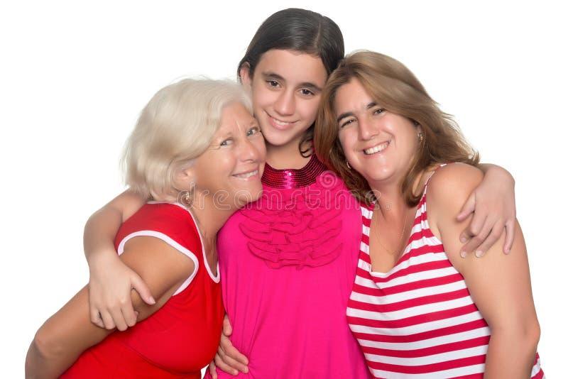 Familie van drie generaties van Spaanse vrouwen stock afbeelding