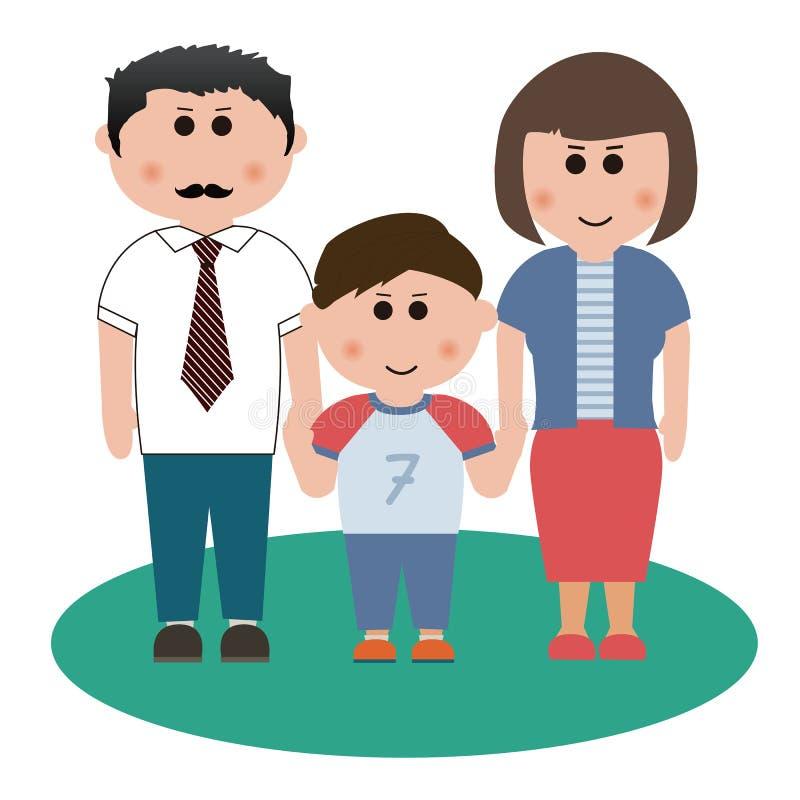 Familie van drie leden stock illustratie