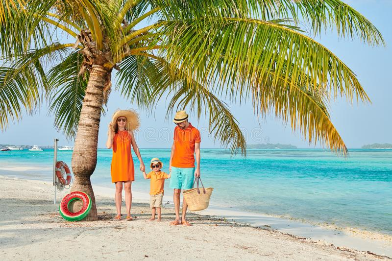Familie van drie op strand onder palm royalty-vrije stock foto