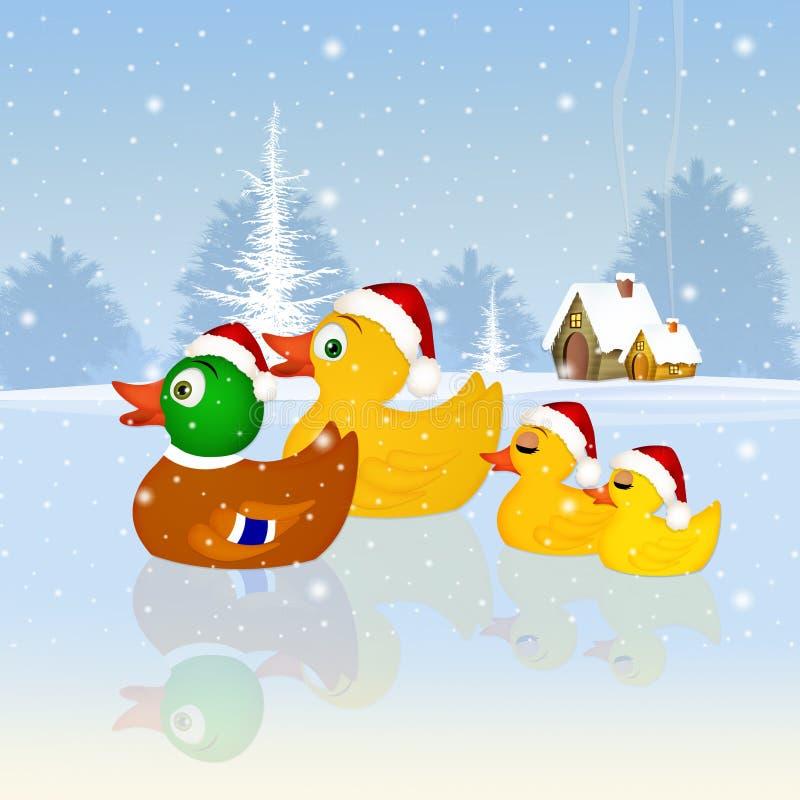 Familie van eenden bij Kerstmis vector illustratie