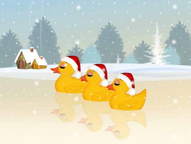 Familie van eenden bij Kerstmis royalty-vrije illustratie