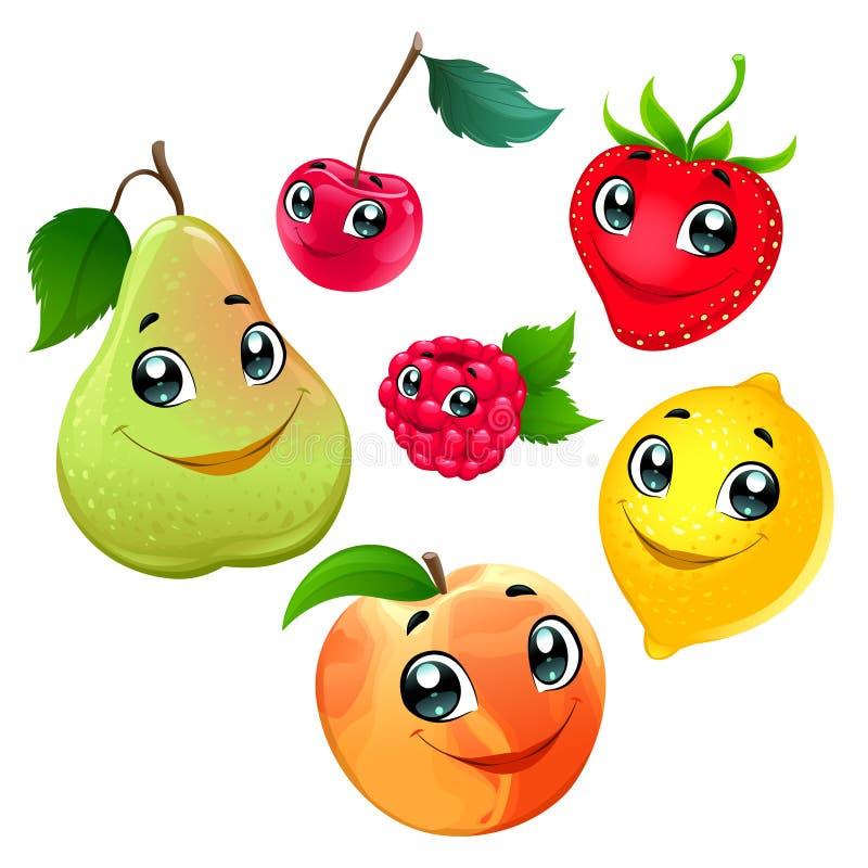 Familie van grappige vruchten stock illustratie