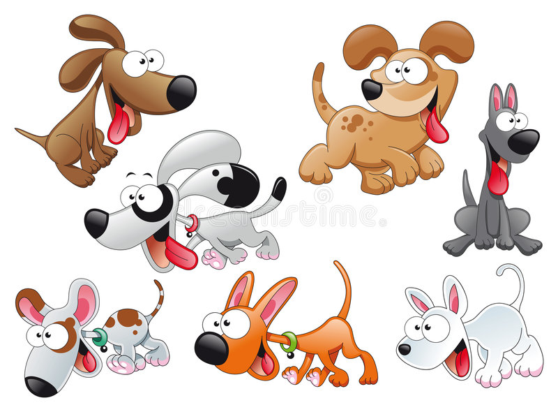 Familie van honden royalty-vrije stock foto