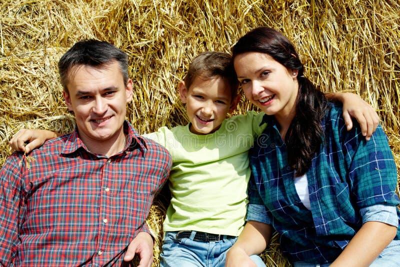 Familie van landbouwers royalty-vrije stock afbeelding
