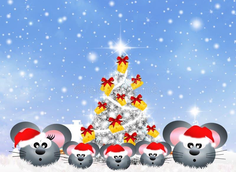 Familie van muizen bij Kerstmis royalty-vrije illustratie