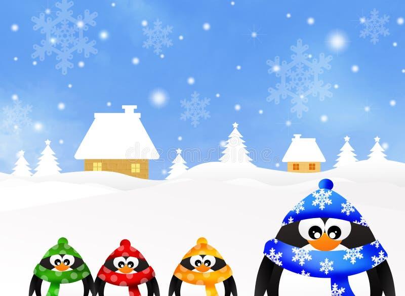Familie van pinguïnen royalty-vrije illustratie