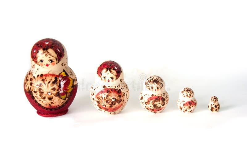 Familie van Russische genestelde poppen royalty-vrije stock foto's