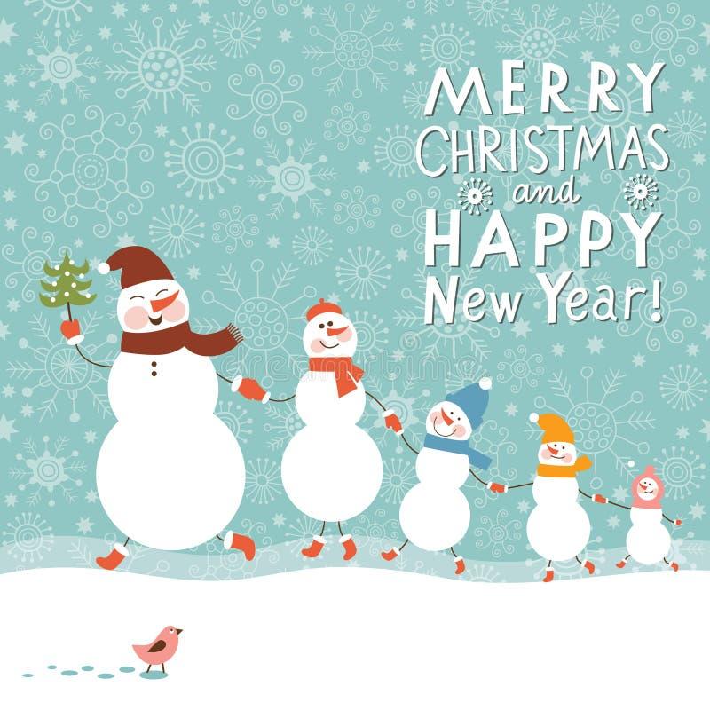 Familie van sneeuwmannen royalty-vrije illustratie