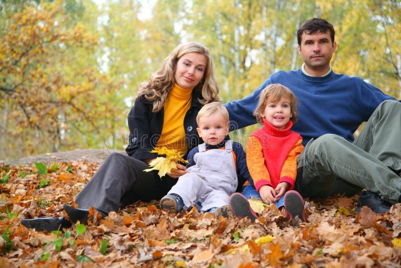 Familie van vier in de herfstpark royalty-vrije stock foto