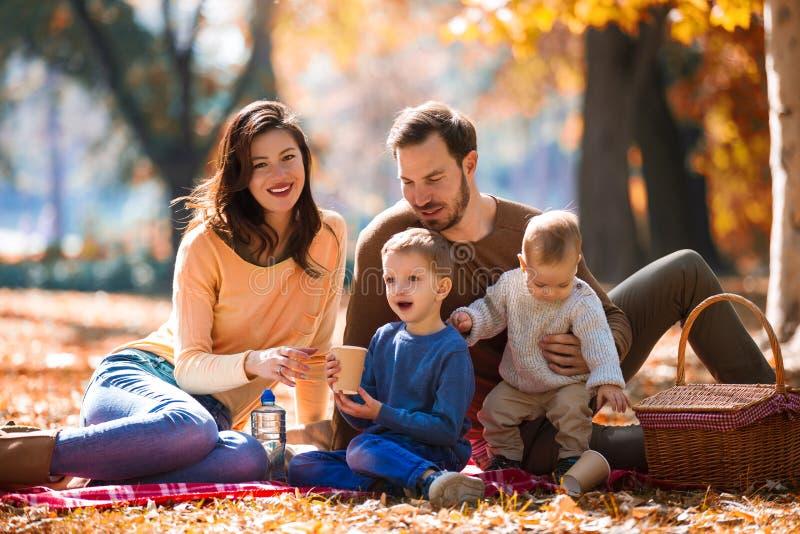 Familie van vier die pret samen in het park in de herfst hebben stock afbeelding