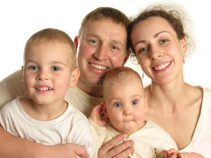 Familie van vier gezichten 3 stock foto's