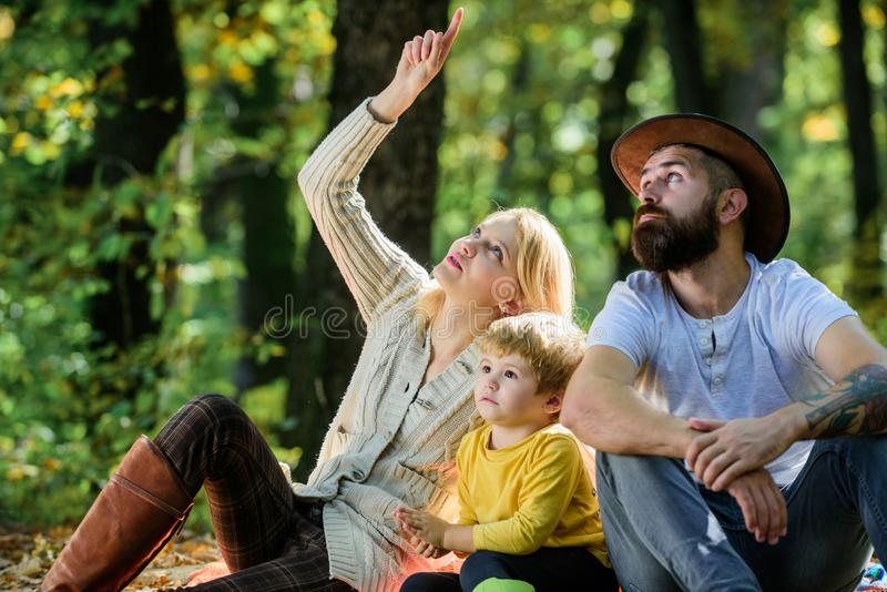 Familie van vier in het de herfstbos De moedervader en weinig zoon zitten bospicknick Goede dag voor de lentepicknick in aard Ond stock foto