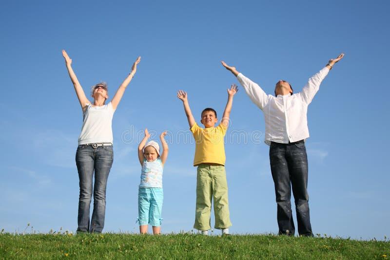Familie van vier op gras stock afbeelding