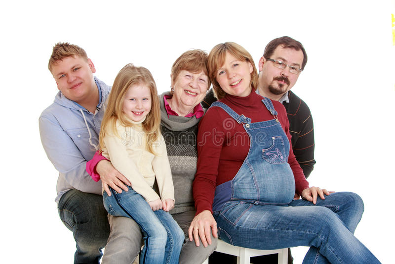 Familie van vijf stock fotografie