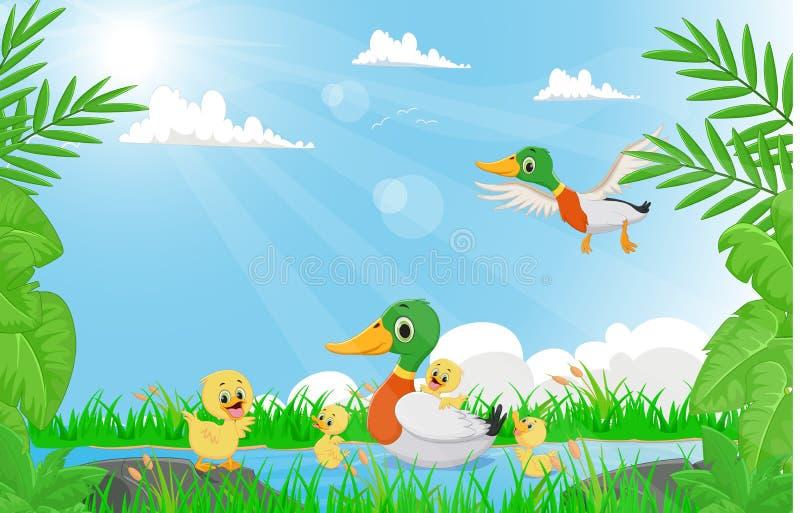 Familie von den Enten, die im Fluss schwimmen vektor abbildung