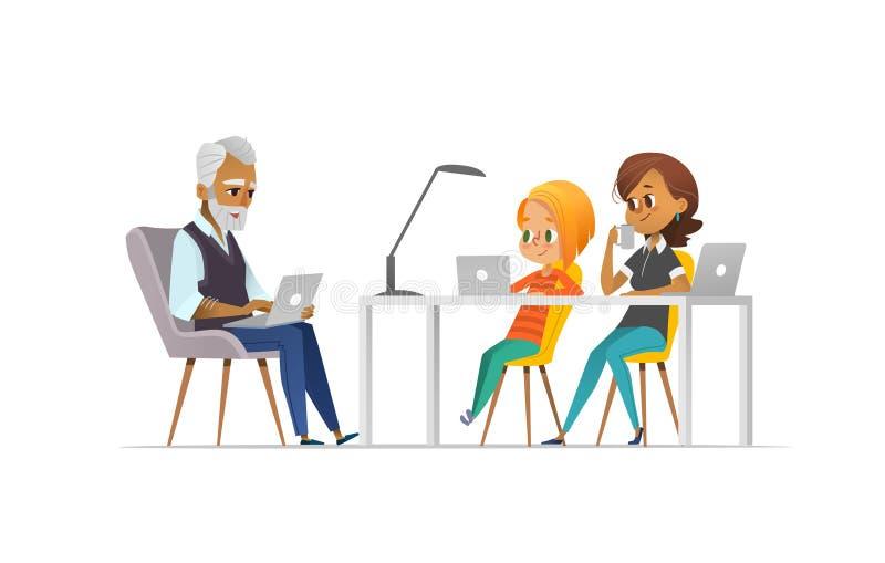 Familie von Programmierern Glückliches Mädchen und Eltern, die zusammen kodieren Freiberuflich tätiges Familienkonzept Kodierung  stock abbildung
