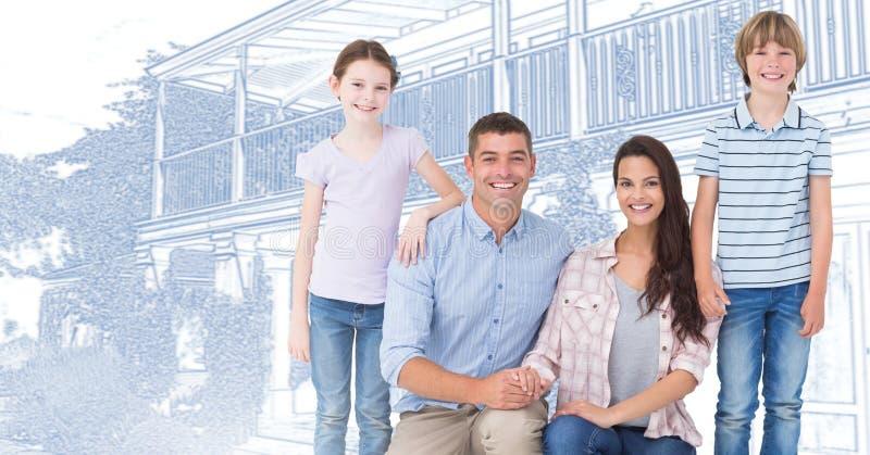Familie voor de schets van de huistekening stock foto