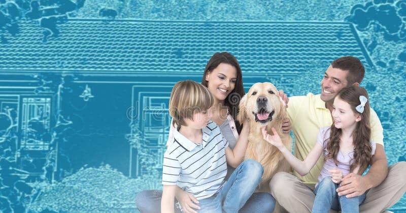 Familie voor de schets van de huistekening met hond royalty-vrije stock foto's