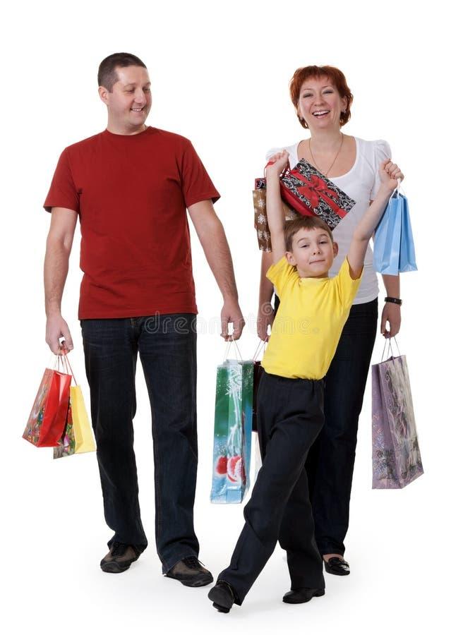 Familie voor het winkelen royalty-vrije stock fotografie