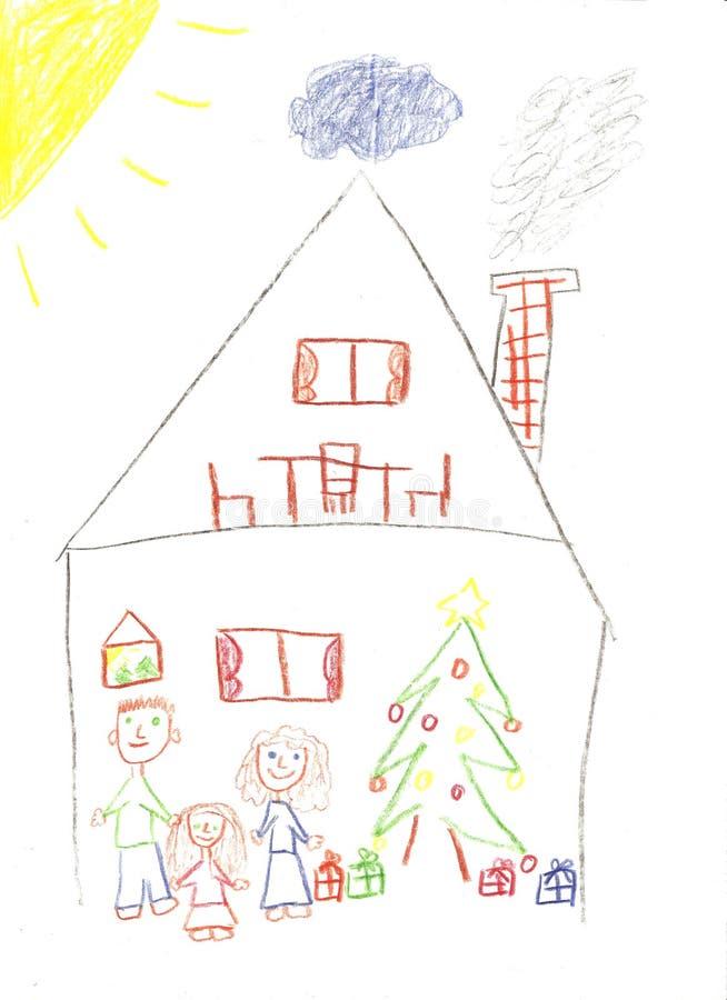 Familie voor Kerstmis royalty-vrije illustratie