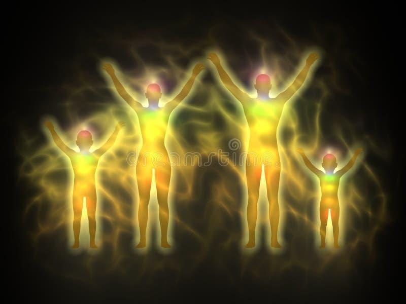 Familie - vrouw, man en kinderen - aura stock illustratie
