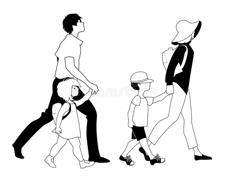 Familie wandelen geïsoleerd op witte achtergrond Twee kinderen stock illustratie
