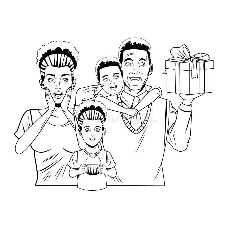 Familie, welche die Vatertagsavataras Schwarzweiss feiert lizenzfreie abbildung