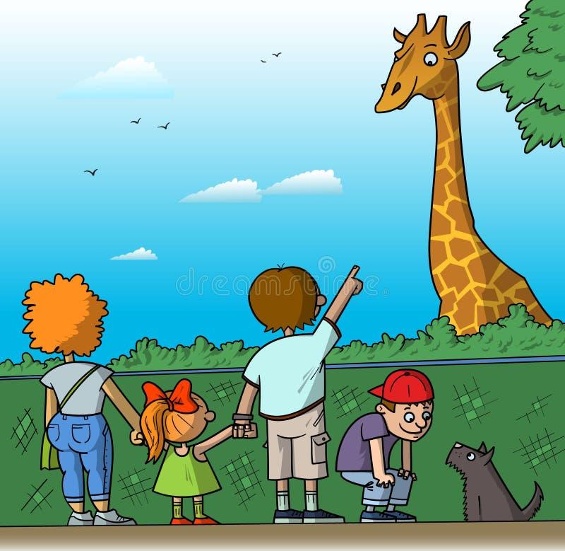 Familie am Zoo lizenzfreie abbildung