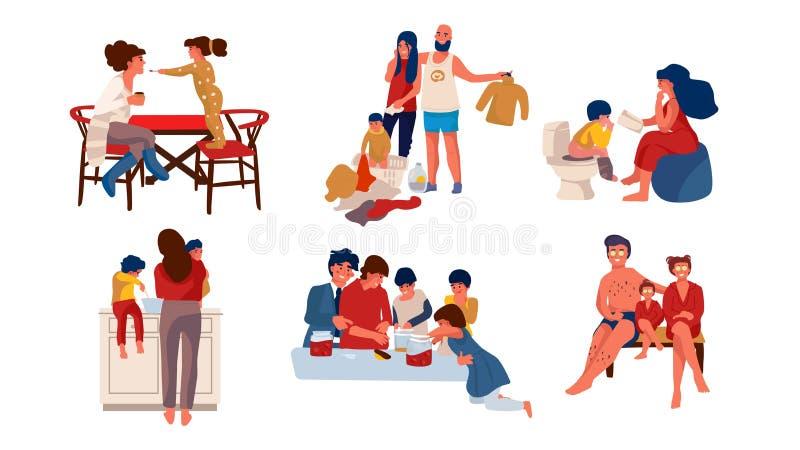 Familie zu Hause Modische Zeichentrickfilm-Figuren von den Eltern und von Kindern, die zu Hause Zeit verbringen vektor abbildung