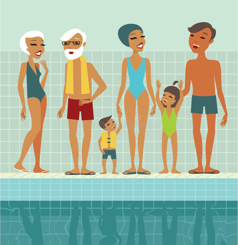 Familie in zwembad royalty-vrije illustratie