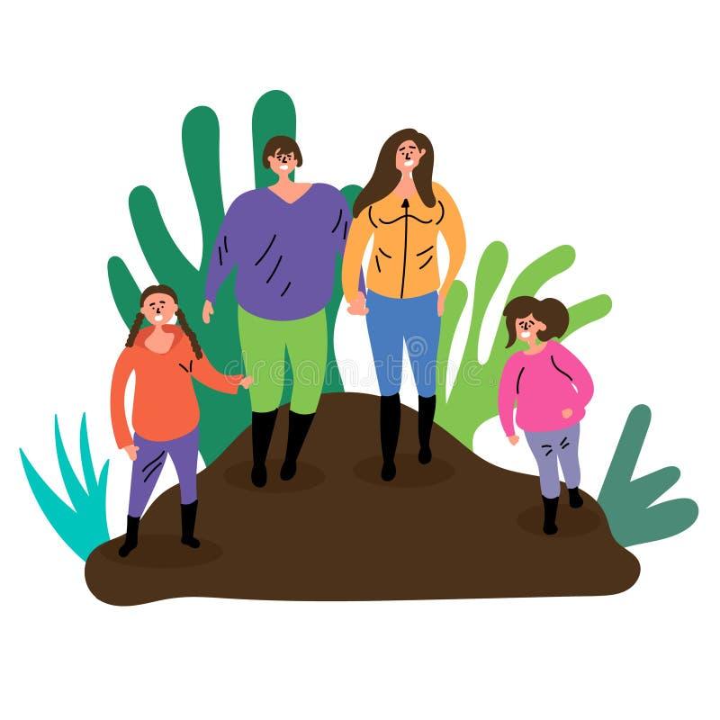 Familiegang in het hout vector illustratie