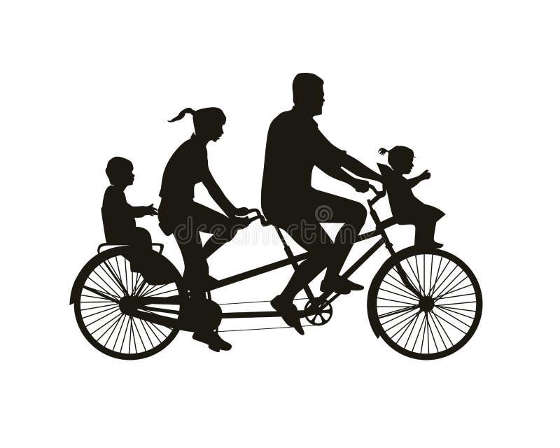 Familiegang op fiets achter elkaar royalty-vrije illustratie