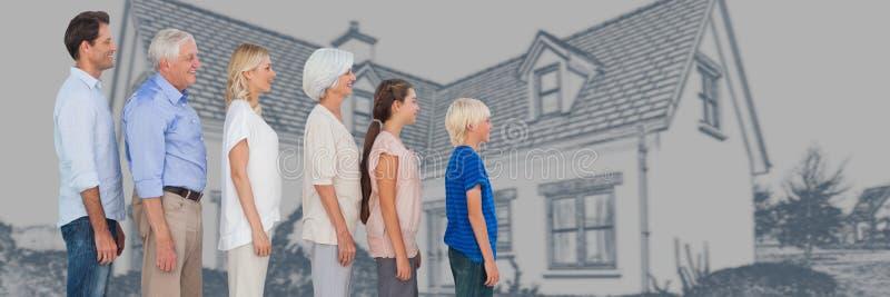 Familiegeneraties die in hoogte voor de schets van de huistekening dalen royalty-vrije stock afbeeldingen