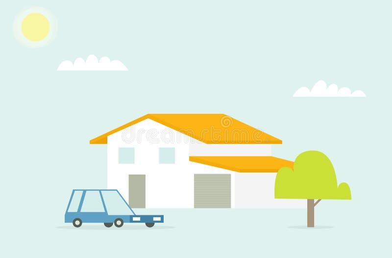 Familiehuis met auto en boom stock illustratie