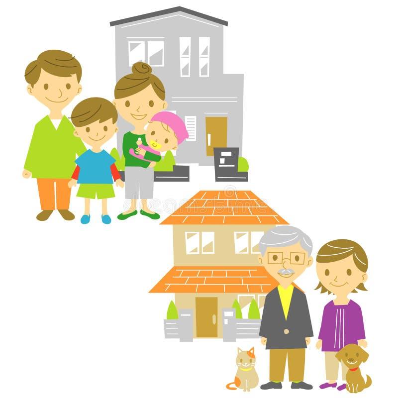 Familiehuizen royalty-vrije illustratie