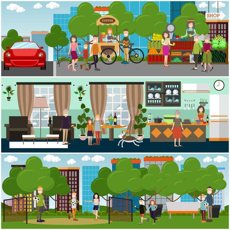 Familiekarakters thuis en in openlucht vector vlakke affichereeks stock illustratie