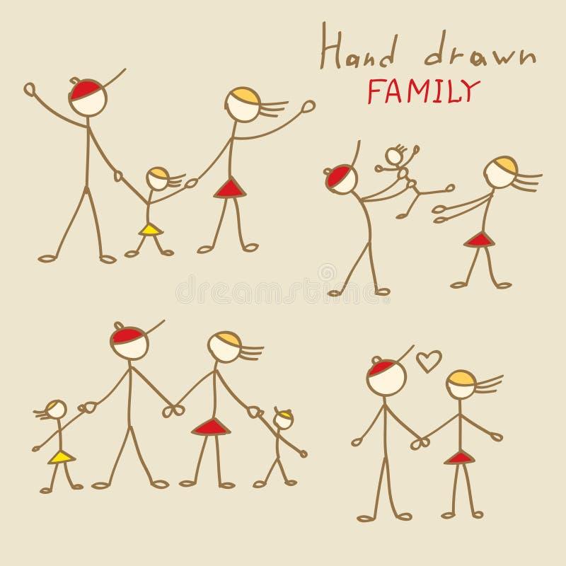 Familiekrabbels vector illustratie