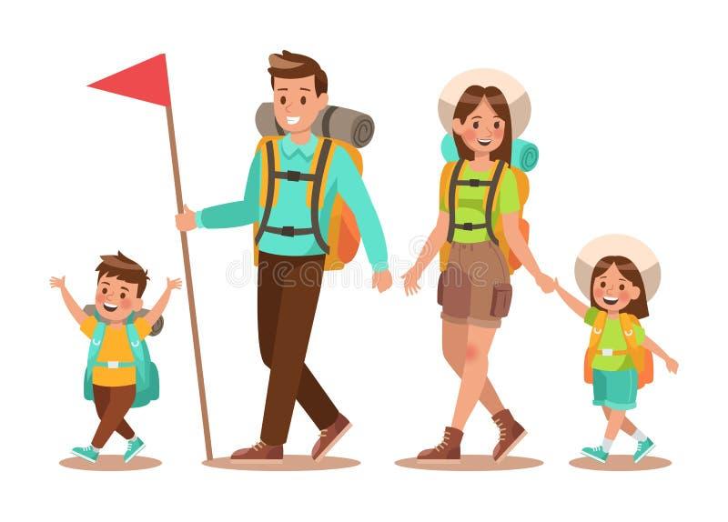 Familielevensstijl De tijd van de familiereis De gelukkige familie gaat naar het Kamperen Duif als symbool van liefde, pease no2 stock illustratie