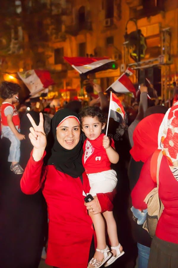 Familien-Ägypterrevolution stockbilder