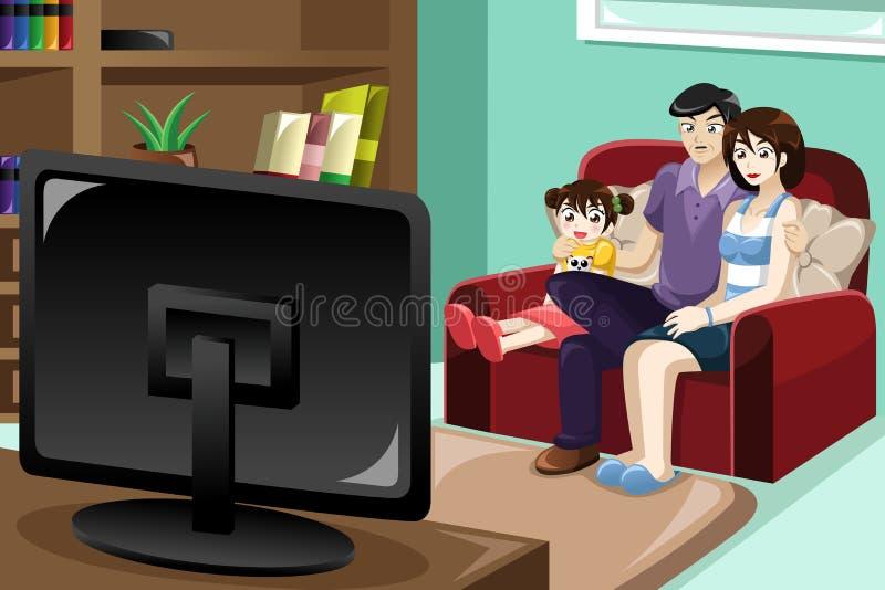 Familien-überwachendes Fernsehen vektor abbildung