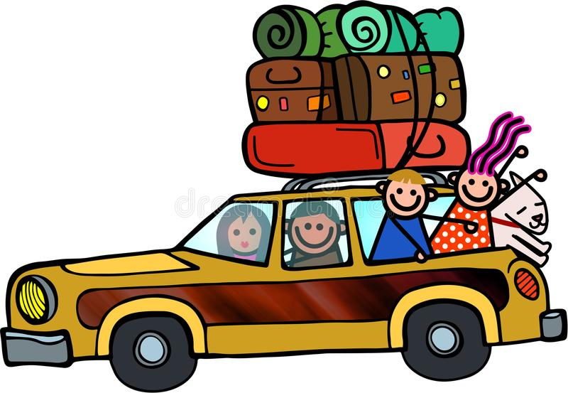 Familien-Ausflug-glückliche Gekritzel-Karikatur lizenzfreie abbildung