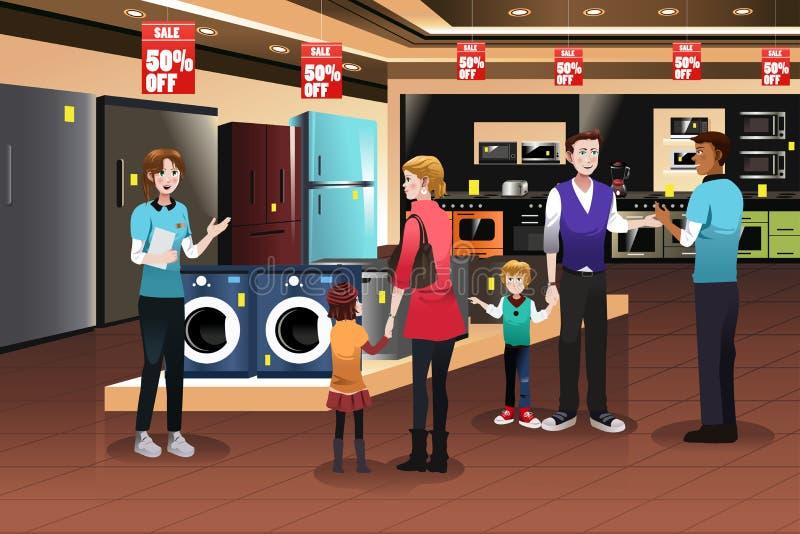 Familien-Einkaufen für Geräte lizenzfreie abbildung
