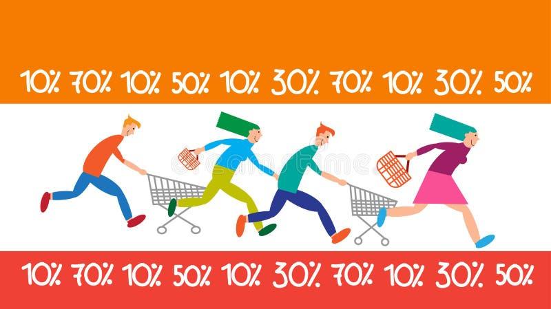 Familien-Einkaufslauflaufkatzen-Verkaufs-Rabatt lizenzfreie abbildung