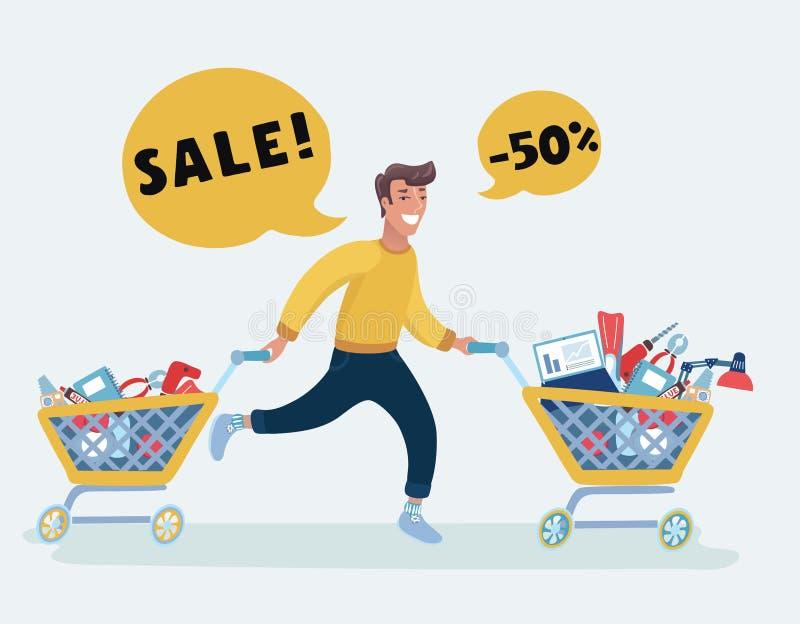 Familien-Einkaufslauflaufkatzen-Verkaufs-Rabatt-Vektor-Illustration vektor abbildung