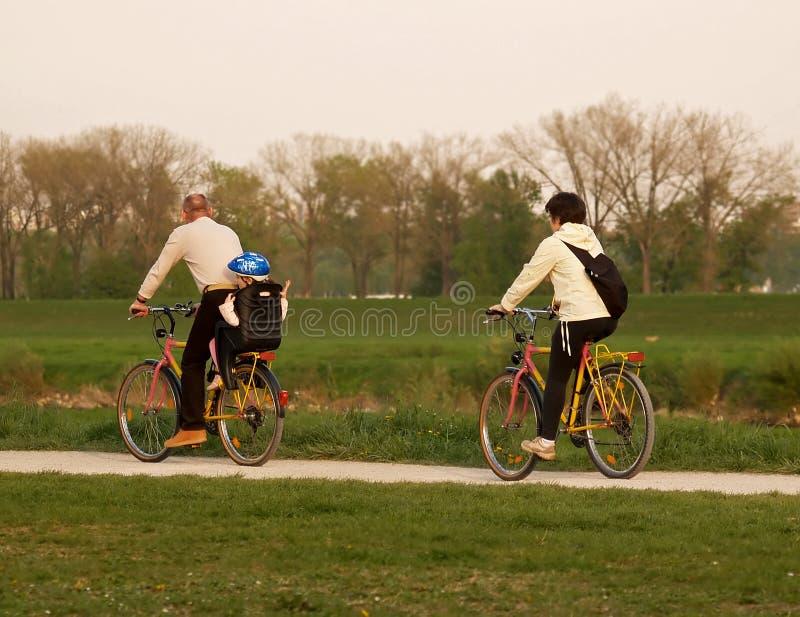 Familien-Fahrrad-Fahrt lizenzfreies stockbild