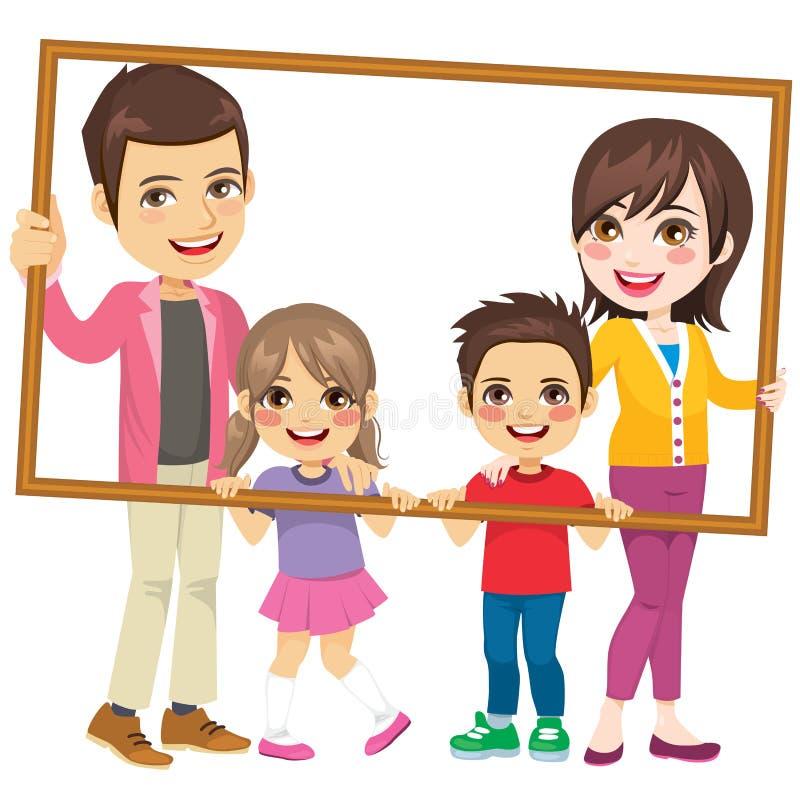 Familien-Holding-Porträt-Rahmen lizenzfreie abbildung