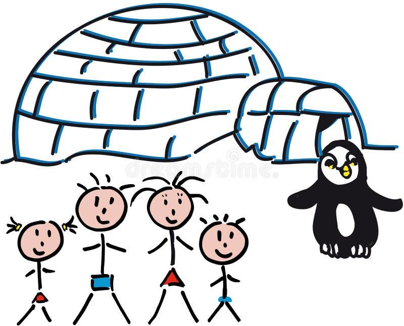 Familien-Iglu lizenzfreie stockbilder