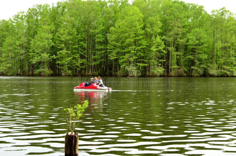 Familien-Pedal-Bootfahrt auf Greenfield See lizenzfreie stockfotografie