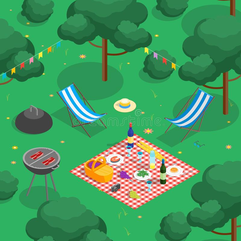Familien-Picknick mit isometrischer Ansicht Bbq Vektor lizenzfreie abbildung