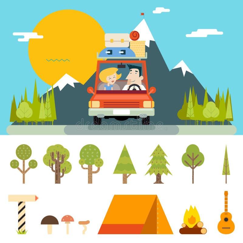 Familien-Reise-Straßen-Auto-Konzept-flache Design-Ikone lizenzfreie abbildung